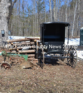 The Yoders' buggy takes a rest Thursday, March 23. A horse and buggy will be their primary mode of transportation as they travel through town. (Abigail Adams photo)
