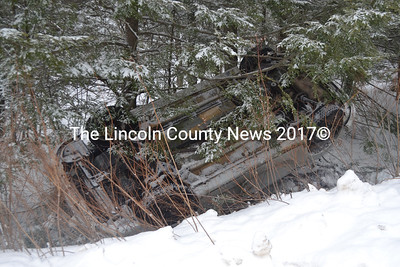 There were no injuries as a result of a single-vehicle rollover on East Pond Road in Nobleboro the morning of Wednesday, March 22. (Alexander Violo photo)