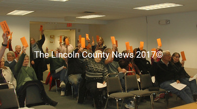 Waldoboro voters raise their cards during a special town meeting at the town office Wednesday, March 29. (Alexander Violo photo)
