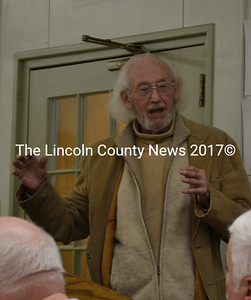 Wiscasset Historic Preservation Commission Chair John Reinhardt speaks at the Wiscasset Board of Selectmen's Tuesday, April 19 meeting, after hearing a complaint about the commission. (Abigail Adams photo)