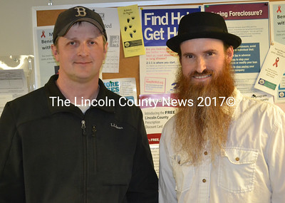 Jan Martin (left) and Darrell Gudroe, of Pharmers Market in Boothbay, discussed their soon-to-open marijuana business during a hearing in Edgecomb on Thursday, April 13. (Abigail Adams photo)