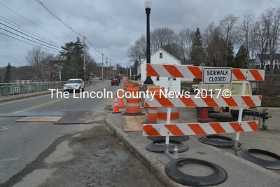 "The Maine Department of Transportation began work to replace the ""wearing surface"" of the Damariscotta-Newcastle bridge Sunday, April 16. The project is scheduled to be completed by Friday, May 26. (Maia Zewert photo)"