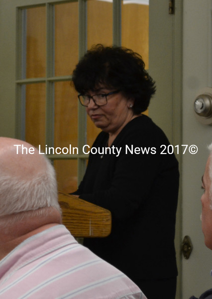 "Resident Celeste Edwards speaks to the Wiscasset Board of Selectmen at their Tuesday, April 19 meeting about the ""innappropriateness"" of the treatment she received from the Wiscasset Historic Preservation Commission. (Abigail Adams photo)"