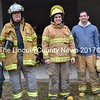 Volunteer firefighters Joe Rodney, of Woolwich, Jeff Whittemore, of Alna, Connor Coburn, of Westport Island, Tom McKenzie, of Alna, and Caitlin Shepherd, of Southport, prepare for their final Lincoln County Fire Academy training Saturday, April 22. (Abigail Adams photo)
