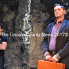 """Nashville-based actor Austin Olive (left), who plays Orpheus in Heartwood Regional Theater Company's upcoming production of Sarah Ruhl's """"Eurydice,"""" and Clifford Blake, who plays Eurydice's father, listen to director Griff Braley's instructions just prior to an April 20 run-through of the play at the Parker B. Poe Theater. (Christine LaPado-Breglia photo)"""