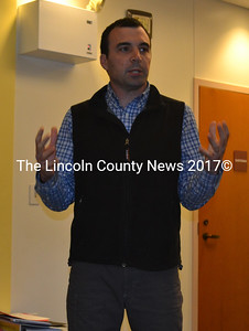 Edgecomb School Committee Chair Tom Abello rallies support for the 2017-2018 education budget ahead of the annual town meeting. (Abigail Adams photo)