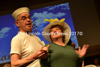 """Hearts Ever Young cast members John Harris and Judy Bebout team up on the well-known song """"Hit the Road Jack"""" during a dress rehearsal at Lincoln Theater in Damariscotta on May 2 for """"Love That Song,"""" which will run May 18-20. (Christine LaPado-Breglia photo)"""