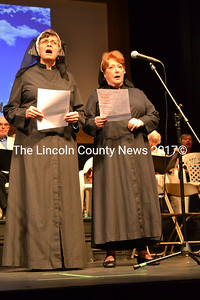 """New Hearts Ever Young cast members Nancy Parker (left) and Judy Bebout portray nuns as they sing the song """"How Do You Solve a Problem Like Maria?"""" from the popular 1965 film """"The Sound of Music"""" during a dress rehearsal for """"Love That Song."""" (Christine LaPado-Breglia photo)"""
