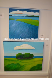 """Cape Elizabeth painter Gail Pfeifle's """"Currents"""" (top) and """"Summer Cloud"""" hang in the main gallery of River Arts. (Christine LaPado-Breglia photo)"""