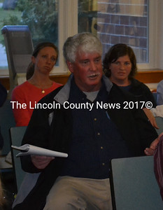 Edgecomb Budget Committee Chair Jack Brennan speaks during a meeting about Edgecomb's 2017-2018 education budget Tuesday, May 9. (Abigail Adams photo)