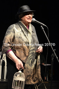 """Hearts Ever Young cast member Valerie Gorrill performs the song """"My Old Man Said Follow the Van"""" during the May 2 dress rehearsal for """"Love That Song"""" at Lincoln Theater in Damariscotta. (Christine LaPado-Breglia photo)"""