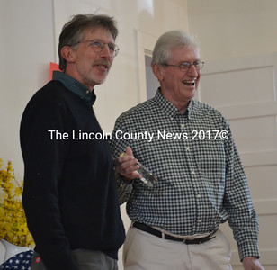 Selectman Mike Smith (left) presents Don Kroitzsh with a Spirit of America Award at Edgecomb's annual town meeting Saturday, May 13. The award recognizes Kroitzsh for designing Edgecomb's new website. (Abigail Adams photo)