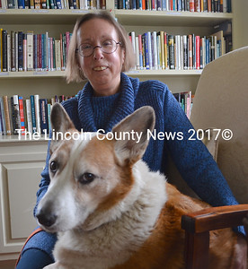 "Marianne Pinkham and her grand corgi, Rocket. After 12 years as the director of Spectrum Generations Coastal Community Center in Damariscotta, Pinkham ""graduated"" March 10. (Maia Zewert photo)"