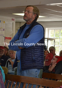 Edgecomb Harbor Master Corning Townsend speaks about a proposal to create a stipend for the position at the annual town meeting Saturday, May 13. (Abigail Adams photo)