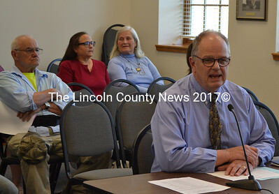 Central Lincoln County School System Superintendent Steve Bailey talks about the Damariscotta secondary education budget as residents look on during a special town meeting Wednesday, May 17. (Maia Zewert photo)