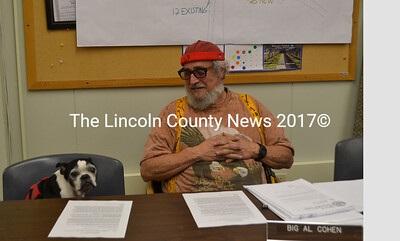 "The Wiscasset Planning Board welcomed a special guest Monday, May 22. Miss Lilly, a Boston terrier, joined owner ""Big Al"" Cohen, a member of the board, for the meeting. (Charlotte Boynton photo)"