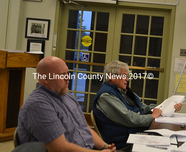 Clark's Point Development representatives Andrew Hedrich (left) and Karl Olson present an application to the Wiscasset Planning Board on Monday, May 22. (Charlotte Boynton photo)