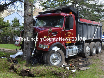 A dump truck struck a tree in the vicinity of 1563 Route 32 the morning of Friday, May 19. The driver was not hurt, according to Lincoln County Sheriff's Office Detective Jared Mitkus. (Maia Zewert photo)