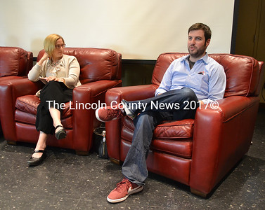 Jennifer Villeneuve, of Gallagher, Villeneuve and DeGeer PLLC, looks on as Riverside Butcher Co. owner August Avantaggio answers a question during Skidompha Library's Chats with Champions program Tuesday, May 23. (Maia Zewert photo)