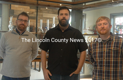 From left: Jay Rossi, Noah Rosen, and Charles Doherty co-own Highbrow Maine in Waldoboro. (Alexander Violo photo)