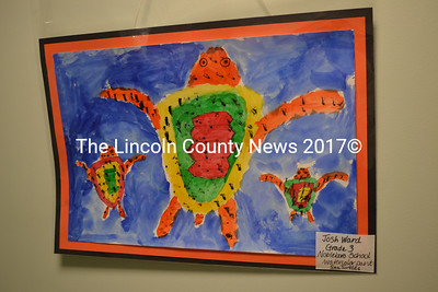 Nobleboro Central School third-grader Josh Ward's watercolor painting of sea turtles is one of the many colorful pieces of artwork by local schoolkids on display  through Friday, May 19 at The Lincoln Home, 22 River Road, Newcastle. Go see the show before it's gone! (Christine LaPado-Breglia photo)