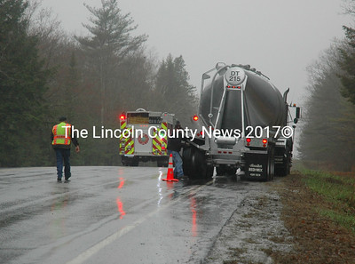 A cement truck was rear-ended on Route 1 in Waldoboro the morning of Wednesday, April 26. (Alexander Violo photo)