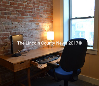 One of the four new desk spaces available for use at Buzz Maine in downtown Damariscotta. (Maia Zewert photo)
