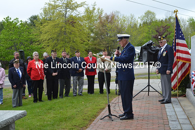 Pastor Wally Staples, of the Wiscasset Church of the Nazarene, speaks during a Memorial Day service at the town's veterans monument. (Charlotte Boynton photo)