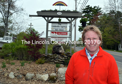 "Alpine Contracting Services President Charles John ""C.J."" Turner outside his office at 73 Biscay Road in Damariscotta. (J.W. Oliver photo)"