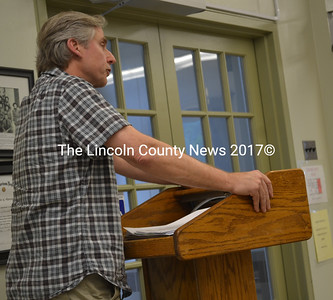 Wiscasset Historic Preservation Commissioner James Kochan addresses the Wiscasset Board of Appeals on Monday, June 19. (Abigail Adams photo)