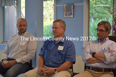 Si Balch, leader of the Down East chapter of the Small Woodland Owners Association of Maine, speaks during a Lincoln County Community Conversation about climate change at Mobius Inc. in Damariscotta on Wednesday, June 14 as fellow panelists Carl Wilson (left) and Ivan Fernandez look on. (Remy Segovia photo)