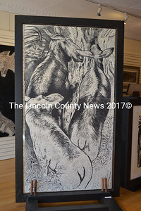 """""""A Cupsuptic Crossing,"""" one of R. Keith Rendall's large woodcuts. (Christine LaPado-Breglia photo)"""