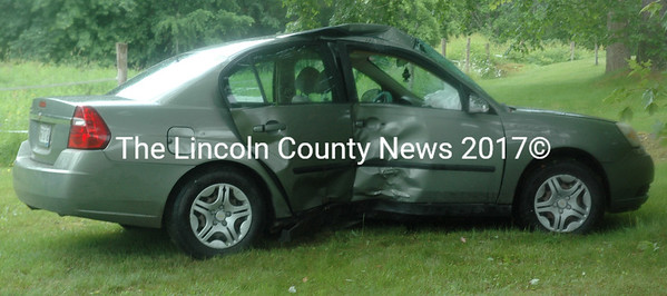 The occupants of a Chevrolet sedan sustained minor facial injuries in a single-vehicle accident on South Clary Road in Jefferson the morning of Friday, June 23. (Alexander Violo photo)