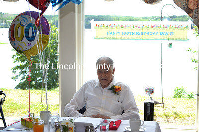 David Van Strien celebrates his 100th birthday during a lunch with friends and fellow residents at The Lincoln Home, where he resides, on the afternoon of Thursday, June 22. (Maia Zewert photo)