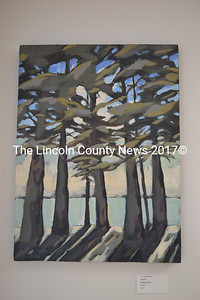 """""""Standing There,"""" an acrylic painting by Sarah Wilde, of Walpole, is one of approximately 80 pieces on exhibit at the members art show at River Arts in Damariscotta. (Christine LaPado-Breglia photo)"""
