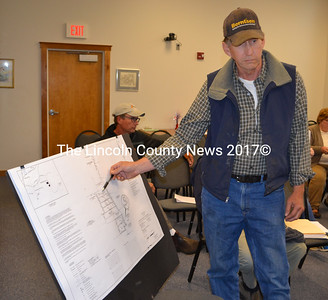 John Mann presents a plan for a subdivision on Heater Road to the Damariscotta Planning Board on Monday, June 5. (Maia Zewert photo)
