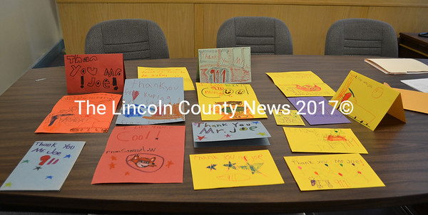 Cards from first-graders at Jefferson Village School thank Lincoln County Communications Director Joe Westrich for his visit to their class to talk about 911. (Charlotte Boynton photo)