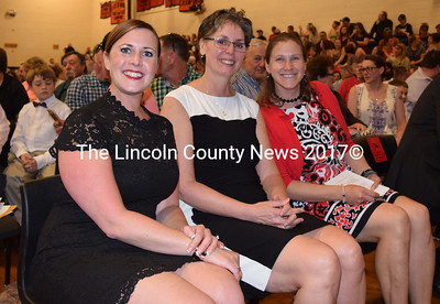 From left: Wiscasset School Department Superintendent Dr. Heather Wilmot, Wiscasset Middle High School Principal Peg Armstrong, and WHMS Assistant Principal Mandy Lewis wait for the ceremonies to begin. (Remy Segovia photo)