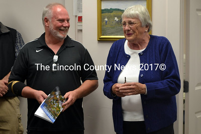 Edna Verney thanks the Newcastle Board of Selectmen for their dedication of the annual report in her honor. (Remy Segovia photo)