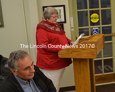 Coastal Enterprises Inc. founder Ron Phillips listens as Wiscasset Historic Preservation Commissioner Susan Blagden requests an apology from the Wiscasset Board of Selectmen on Tuesday, June 6. (Abigail Adams photo)