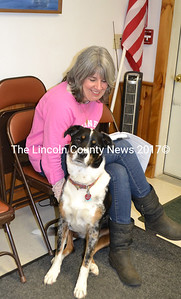 Westport Island Town Clerk Gaye Wagner and her dog, Mazy, attend a meeting of the Westport Island Board of Selectmen on Monday, June 5. (Charlotte Boynton photo)