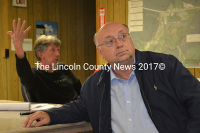 State Sen. Dana Dow, R-Waldoboro, listens to Edgecomb Selectman Mike Smith (background) and residents express their frustrations regarding state funding for public education at a meeting of the Edgecomb Board of Selectmen on Monday, June 5. (Abigail Adams photo)