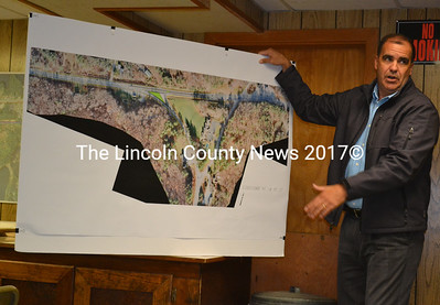 "Maine Department of Transportation Project Manager Ernie Martin explains the department's plan to build a ""Florida T"" intersection at Route 1 and Route 27 in Edgecomb during a meeting of the Edgecomb Board of Selectmen on Monday, June 5. (Abigail Adams photo)"