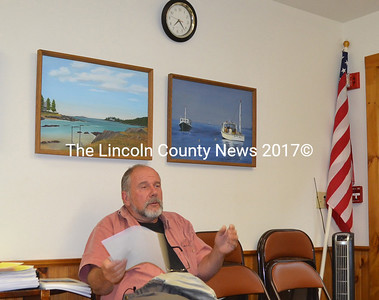 Westport Island resident Raye Amirault meets with the Westport Island Board of Selectmen on Monday, June 5. (Charlotte Boynton photo)