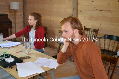 "Aris Company's Gracey Falk and Chris Holtkamp pay close attention as they direct a scene from Falk's play ""Adam and Carol"" in preparation for the theater company's June 8 evening of new plays at the beautifully restored Aris Farm barn in Walpole. (Christine LaPado-Breglia photo)"