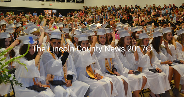 The members of the Lincoln Academy Class of 2017 turn their tassels to mark their graduation Thursday, June 1. (Abigail Adams photo)
