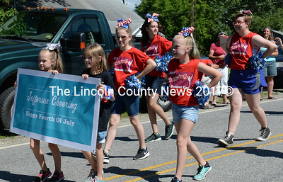 Jefferson cheerleaders march in the Whitefield parade. (Paula Roberts photo)