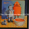 """Robot Lunch,"" one of the acrylic paintings in Denise Rankin's ""Robots"" series on exhibit at The Stable Gallery in Damariscotta through mid-September. (Christine LaPado-Breglia photo)"
