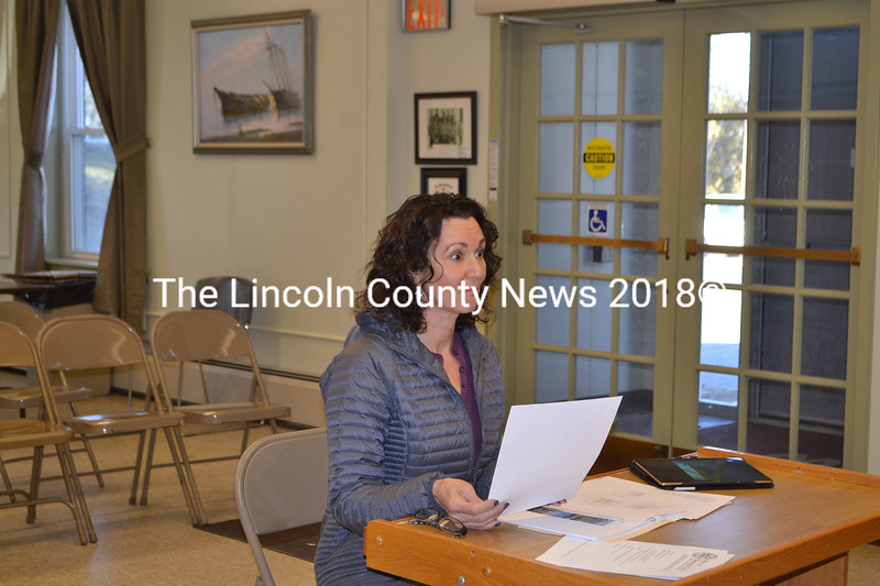 Wiscasset resident Sherri Dunbar appears before the Wiscasset Historic Preservation Commission on Thursday, April 5. (Charlotte Boynton photo)