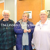 From left: Wiscasset Selectman Katharine Martin-Savage, former Selectman Judy Flanagan, and Selectman Judy Colby discuss the need for the town to move forward after the referendum Tuesday, April 17. (Charlotte Boynton photo)